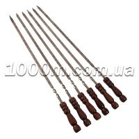 Шампур шлифованный с деревянной ручкой 740x10x3